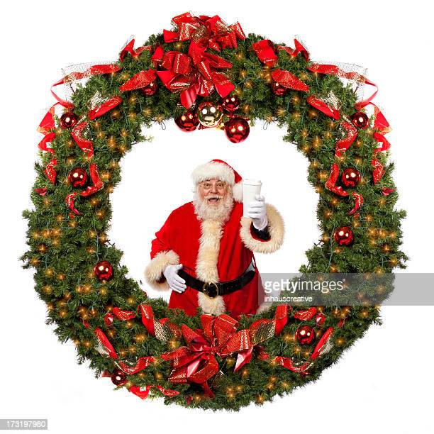 Pictures of Real Santa Claus in a big Wreath