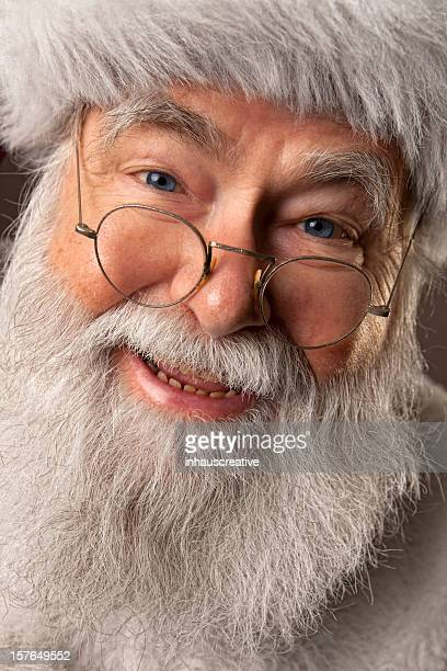 pictures of real santa claus in your face - santa face stockfoto's en -beelden