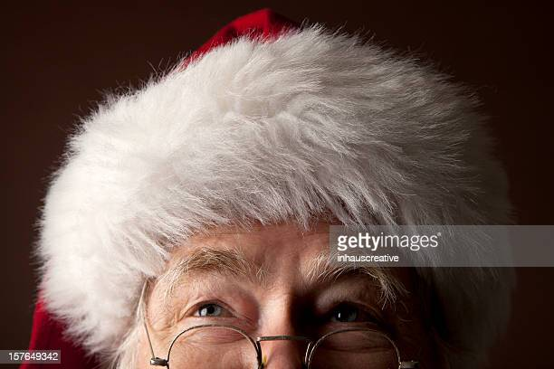 pictures of real santa claus looking up - santa close up stock pictures, royalty-free photos & images