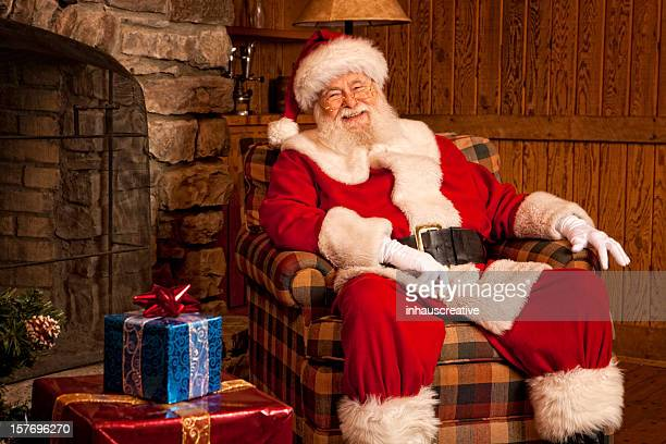 Pictures of Real Santa Claus relaxing at home