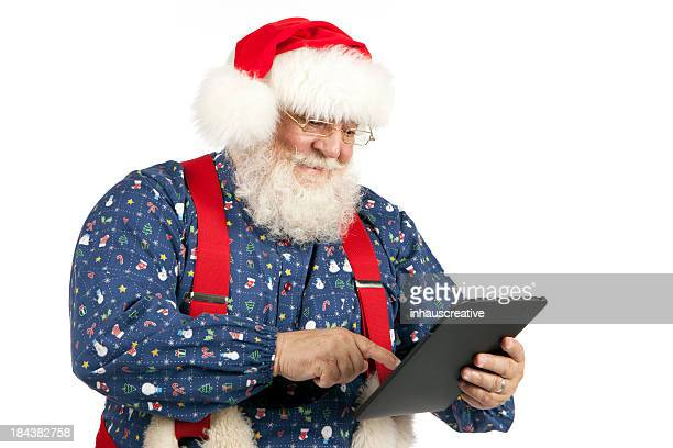 Fotografias do Real Santa's verificação tablet digital