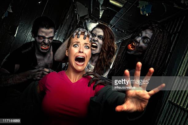 pictures of real victim struggles to get away from zombies - ugly black women stock photos and pictures