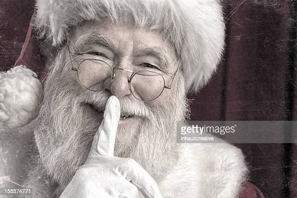 Pictures of Real Vintage Santa Claus saying shh be quite