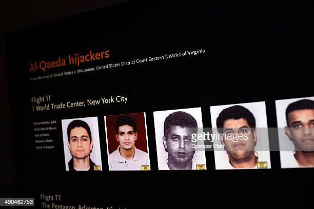 Pictures of some of the September 11 hijackers are viewed during a preview of the National September 11 Memorial Museum on May 14, 2014 in New York...