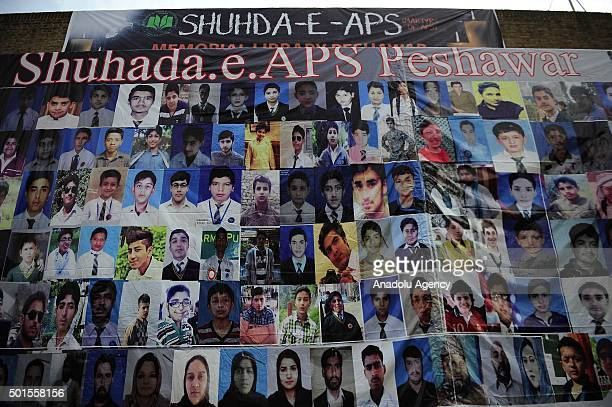 Pictures of the schoolchildren are displayed in the memory of the victims of Taliban's deadliest attack at an Army Public School in Rawalpindi...