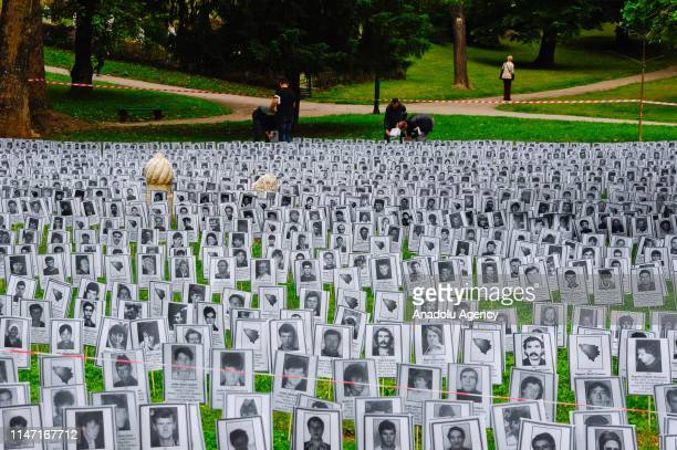 Pictures of the victims who were killed in wartime by Serbs in city of Prijedor are being displayed during White Ribbon Day commemorating at the...