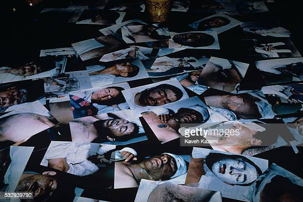 Pictures of victims of Saddam Hussein's chemical gas attack on Halabja seen on a desk in Labbafinejad hospital bed, 22nd March 1988. Towards the end...