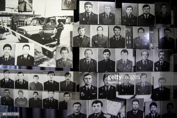 Pictures of workers who worked at Ukraine's Chernobyl nuclear power plant immediately after the explosion in 1986 are exhibited in the Chernobyl...