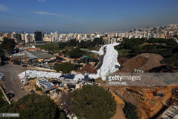 A pictures shows a built up pile of waste on a street in Beirut's northern suburb of Jdeideh on February 25 2016 Lebanon canceled a plan to export...