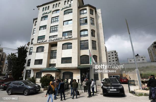 Pictures shows the headquarters of the Palestinian Election Commission, in the city of Ramallah in the West Bank, on March 30, 2021. - Palestinian...