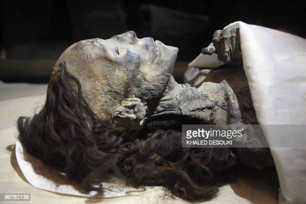 A pictures shows the mummy of Queen Tiye Tutankhamun�s grandmother at the Egyptian museum in Cairo on February 17 2010 New research has revealed that...
