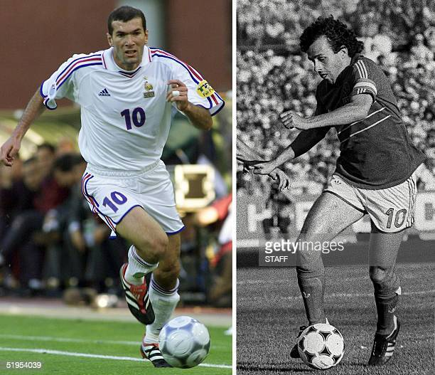 Pictures taken 28 June 2000 in Brussels and 23 June 1984 in Marseille, of French playmaker Zinedine Zidane and captain and midfielder Michel Platini.