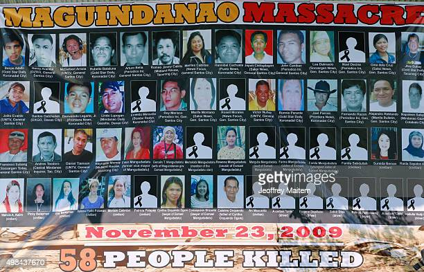 Pictures victims of the 'Maguindanao massacre' also know as the 'Amputuan Massacre' are displayed on November 23 2015 in Ampatuan Maguindanao...