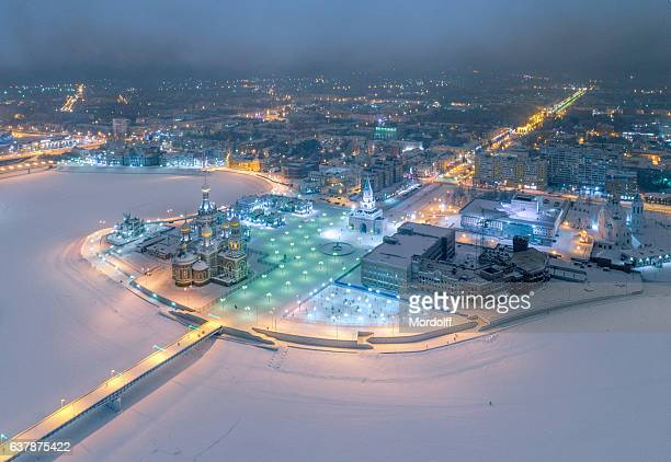 picturesque city skyline at frosty night - russia stock pictures, royalty-free photos & images