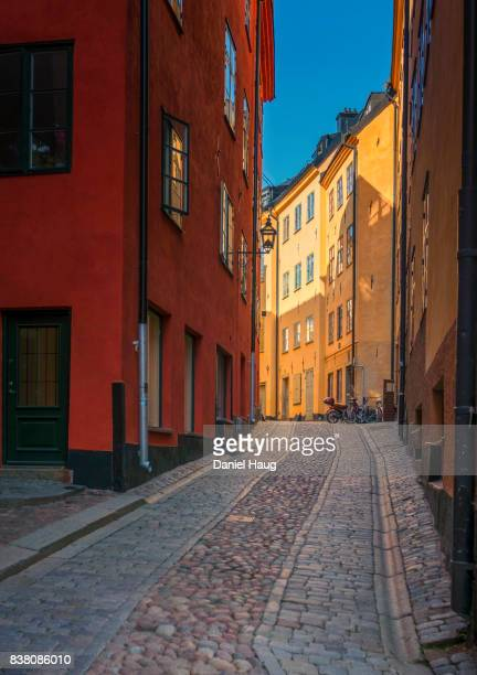 A picturesque cobblestone street in Stockholm's Old Town (Gamla Stan)