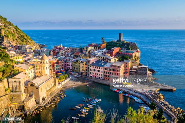picturesque fishing village of vernazza, cinque terre, in the province of la spezia, liguria, italy. - italy stock pictures, royalty-free photos & images