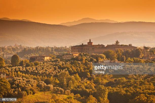 Picturesque Historic Landscape Hill Town of Sienna, Tuscany, Italy at Sunset