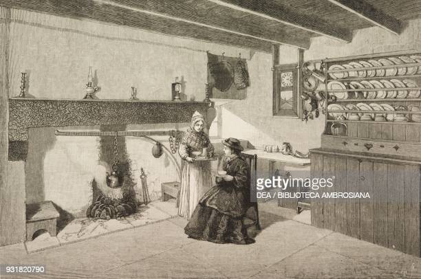 A picturesque interior of one of the cottages on the Balmoral Estate kitchen with cupboard and fireplace Queen Victoria at Balmoral Castle United...