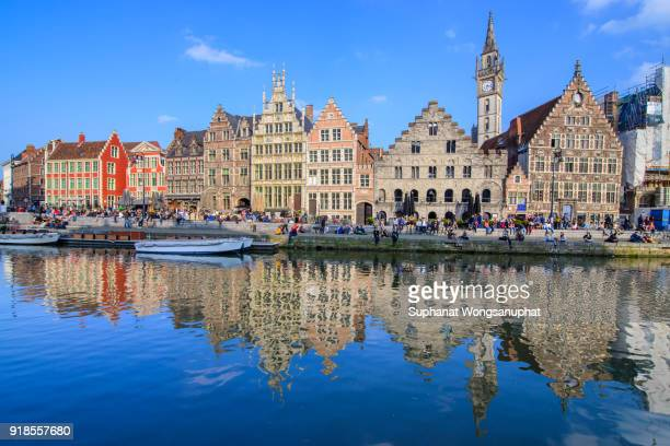 "Picturesque medieval buildings overlooking the ""Graslei harbor"" on Leie river in Ghent town, Belgium, Europe"