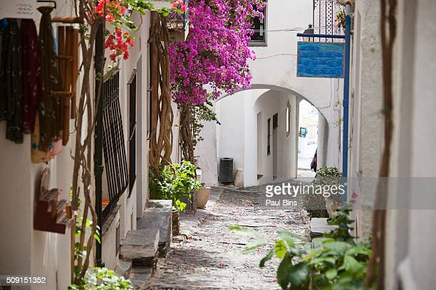 picturesque narrow street in cadaques, spain - cadaques stock pictures, royalty-free photos & images