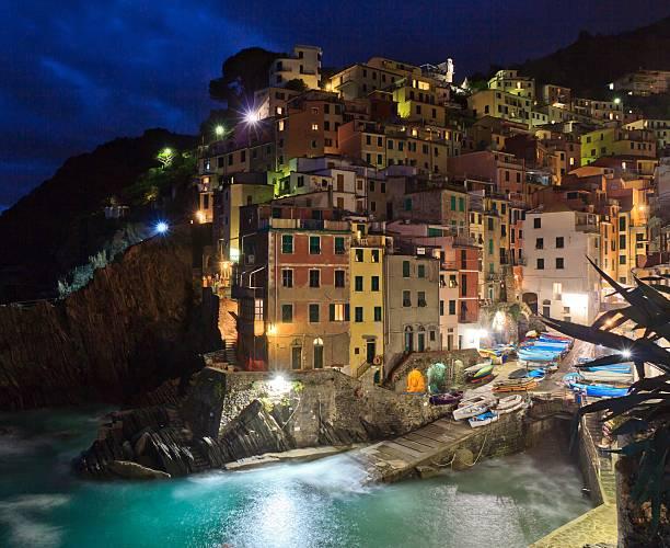 Picturesque Riomaggiore (Cinque Terre) blue hour