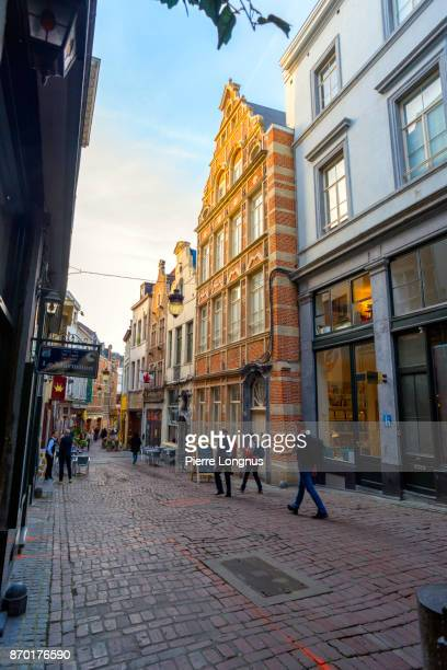 Picturesque Rue Des Bouchers (french for Butchers Street), famous pedestrian street in the historic center of Brussels, Belgium
