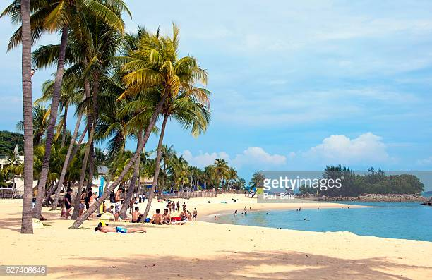 Picturesque Siloso Beach on Sentosa Island, Singapore