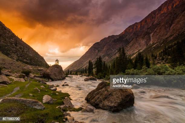 Picturesque sunset in the Barskoon gorge, Kyrgyzstan