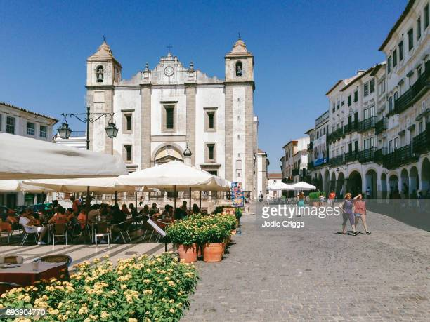 Picturesque town square in the medieval town of Evora, Portugal