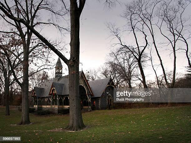 Picturesque wooden farm in Central Park, Manhattan
