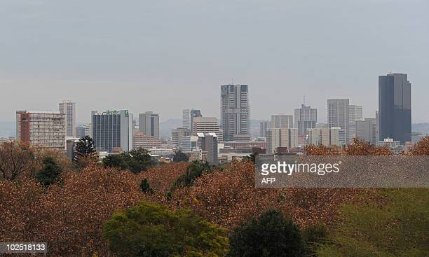 Picturte of Pretoria's skyline taken from the Loftus Versfeld stadium during the South Africa 2010 World Cup round of 16 football match between...