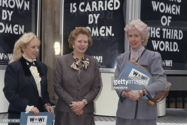 Pida Ripley founder of WomenAid Prime Minister Margaret Thatcher and Marcia Falkender Baroness Falkender promoting the Women of the World awards...