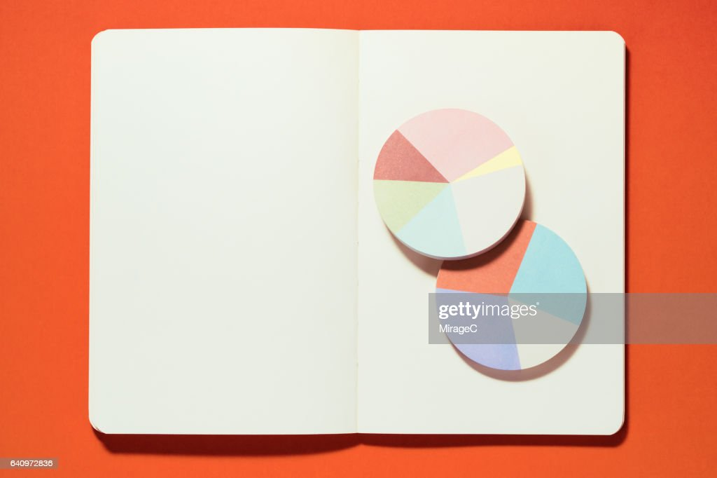 Pie Chart on a Blank Notebook : Stock Photo