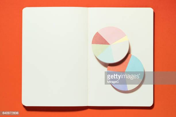 Pie Chart on a Blank Notebook