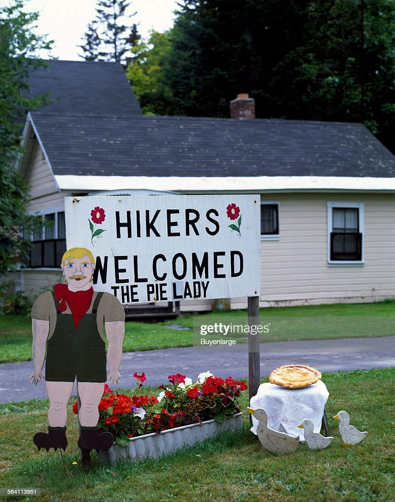 Pie lady, Sydney Pratt, gets a lot of customers from hikers on the Appalachian Trail, Monson, Maine