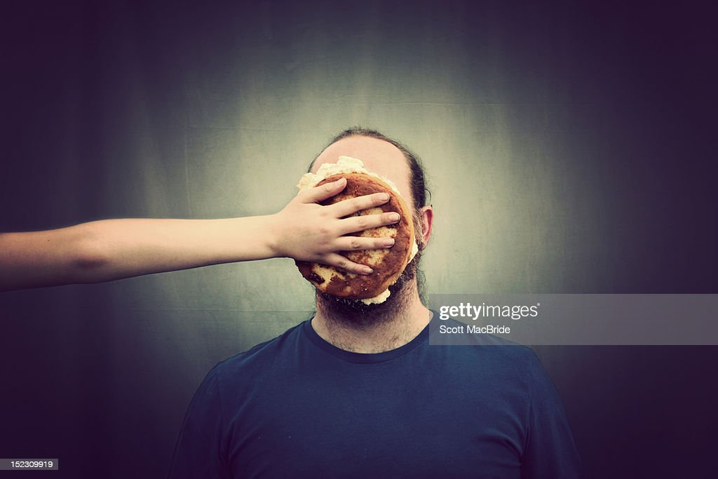 Pie on face : Stock Photo