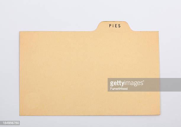 パイのレシピ、古い紙の背景カード空白指数