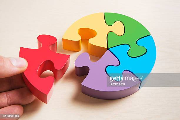 pie shaped puzzle, hand positioning last piece - pie chart stock pictures, royalty-free photos & images