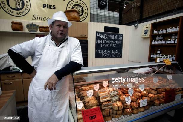 pie shop and salesman, borough market. - borough market stock photos and pictures