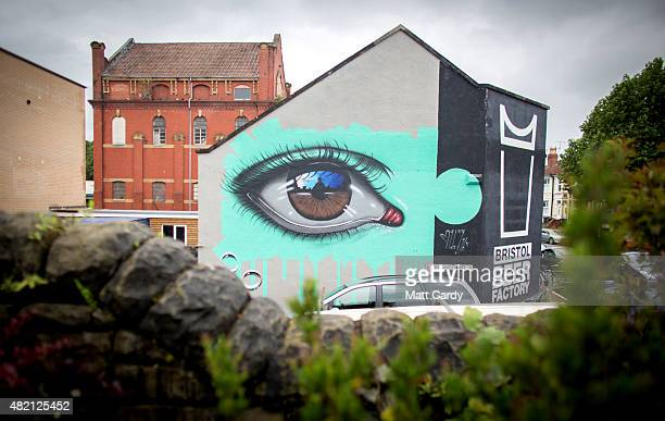 A piece by My Dog Sighs is seen as part of the ongoing Upfest 2015 festival being held in Bedminster on July 27 2015 in Bristol England The threeday...