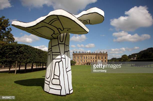 A piece from a private sale entitled 'Arbre Biplan' by Jean Debuffet seen on a lawn at Chatsworth House in Derbyshire UK on Friday September 8 2006