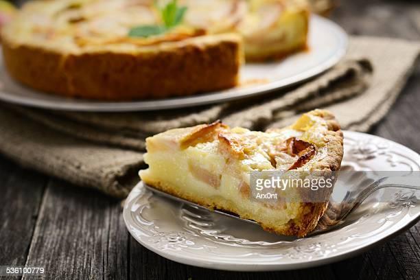 Piece of apple pie on plate
