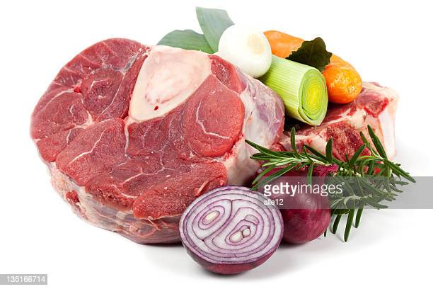 Piece of beef shank with vegetable