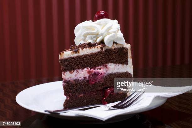 a piece of black forest gateau - fruitcake stock pictures, royalty-free photos & images