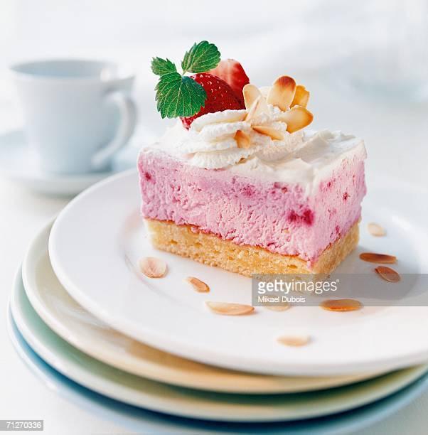 A piece of cake, close-up.