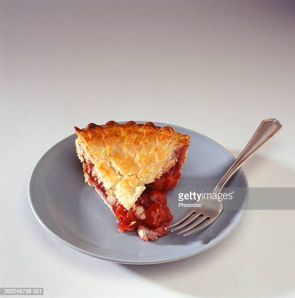 Piece of cherry pie on plate with fork, elevated view, (Close-up)