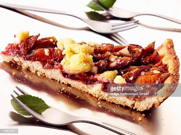 A piece of damson crumble tart