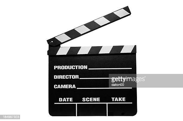 piece of directing equipment that signifies action and cut - clapboard stock pictures, royalty-free photos & images