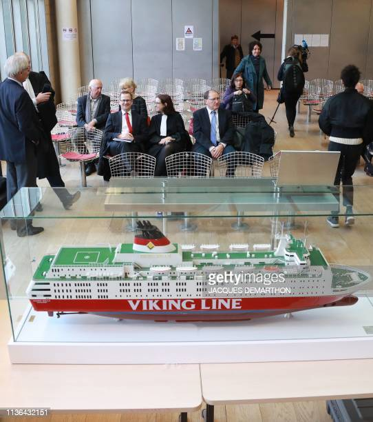 A piece of evidence displayed in the courtroom is pictured at the Nanterre courthouse on April 12 prior to the start of the trial over 1994 sinking...