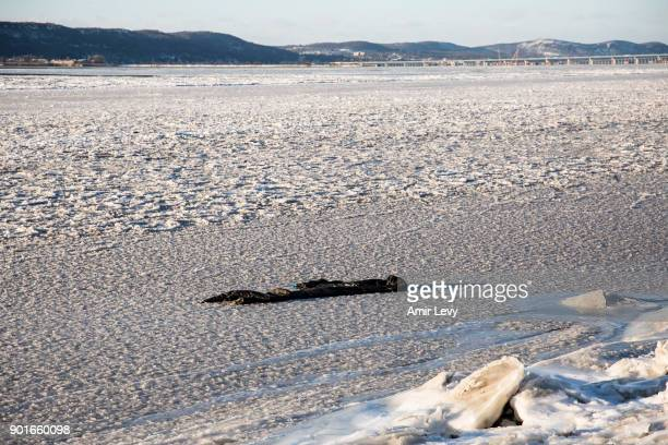 A piece of fabric left on the frozen Hudson River on January 5 2018 in Dobbs Ferry New YorkExtreme low tempratures and wind are expected throghout...